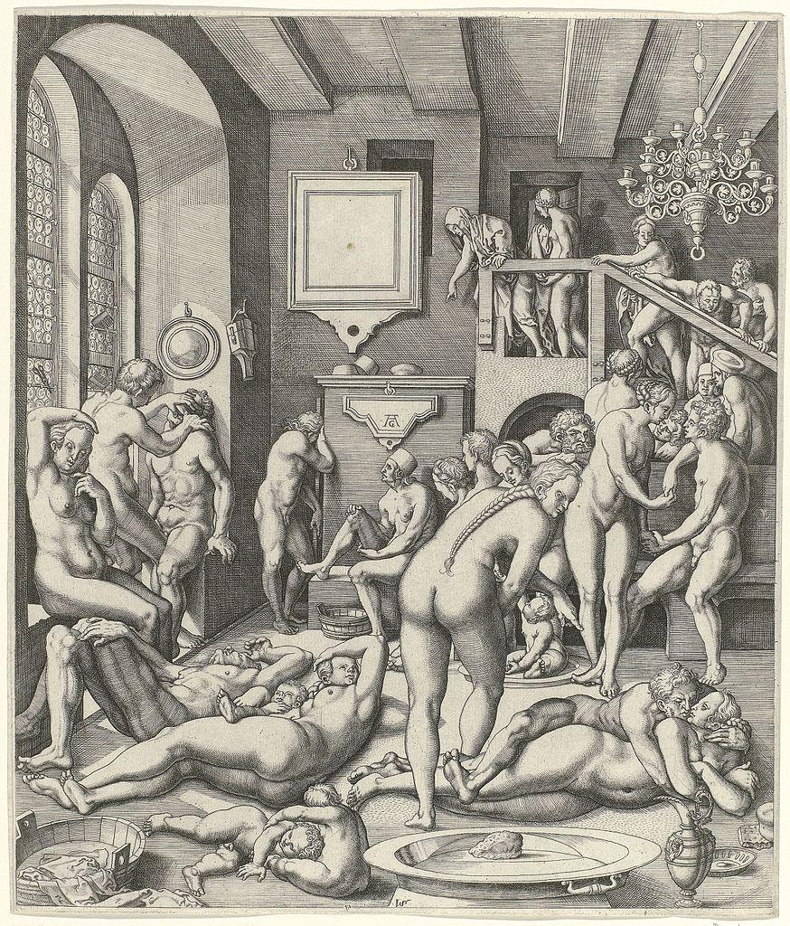 Kupferstich des Inneren eines Badehauses mit Männer und Frauen.